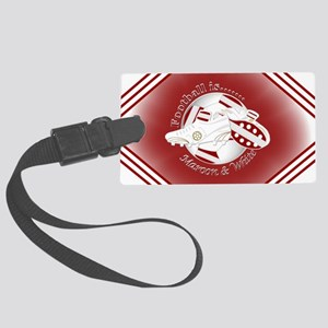Maroon and White Football Soccer Luggage Tag