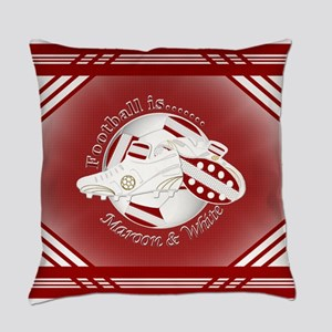 Maroon and White Football Soccer Everyday Pillow