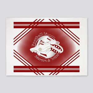 Maroon and White Football Soccer 5'x7'Area Rug