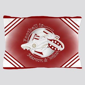 Maroon and White Football Soccer Pillow Case