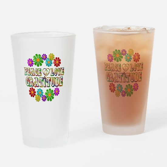Peace Love Gratitude Drinking Glass