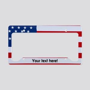 Custom Text Usa Flag License Plate Holder