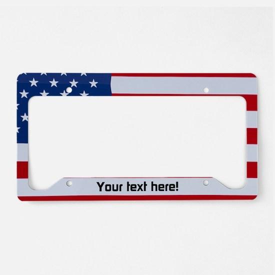 Custom Text Usa Flag License Plate Holder