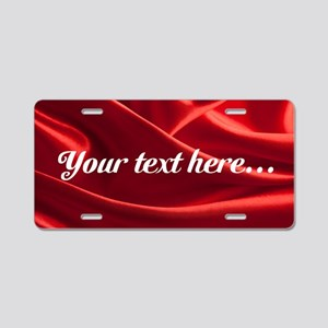 Custom Red Silk Aluminum License Plate