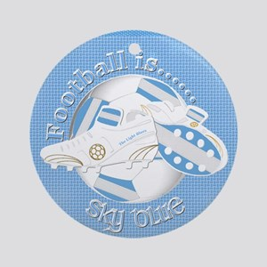 Sky Blue Football Soccer Round Ornament
