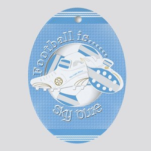 Sky Blue Football Soccer Oval Ornament