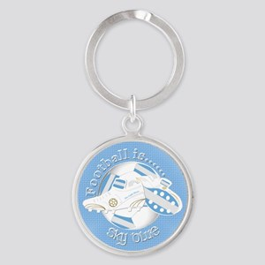 Sky Blue Football Soccer Keychains