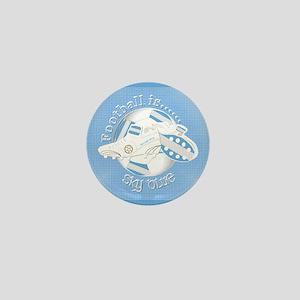 Sky Blue Football Soccer Mini Button