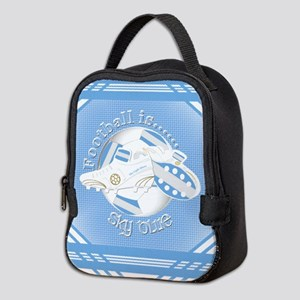 Sky Blue Football Soccer Neoprene Lunch Bag