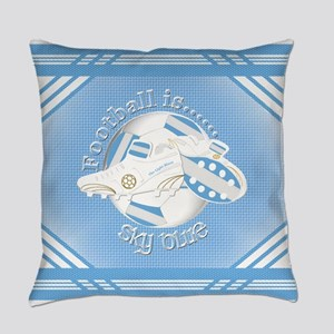Sky Blue Football Soccer Everyday Pillow