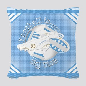 Sky Blue Football Soccer Woven Throw Pillow
