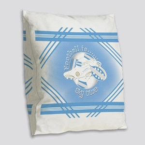 Sky Blue Football Soccer Burlap Throw Pillow