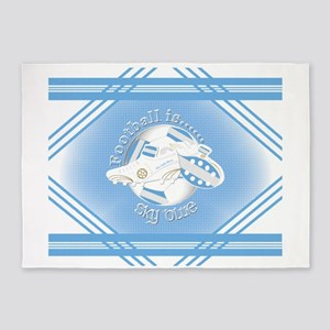 Sky Blue Football Soccer 5'x7'Area Rug