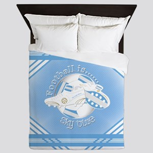 Sky Blue Football Soccer Queen Duvet