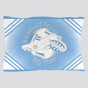 Sky Blue Football Soccer Pillow Case