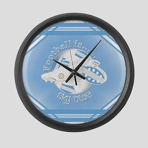 Sky Blue Football Soccer Large Wall Clock