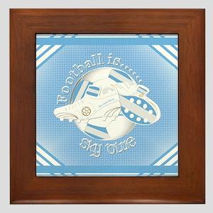 Sky Blue Football Soccer Framed Tile