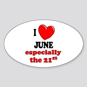 June 21st Oval Sticker