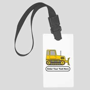 Personalized Bulldozer Large Luggage Tag