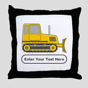 Personalized Bulldozer Throw Pillow