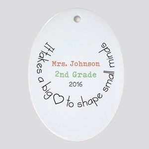 Personalized Big Hearted Teacher Oval Ornament
