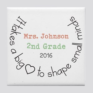 Personalized Big Hearted Teacher Tile Coaster