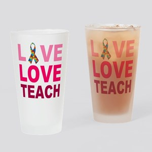 Live Love Teach Autism Drinking Glass