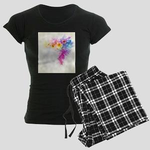 Colorful Tropical Plumeria Women's Dark Pajamas