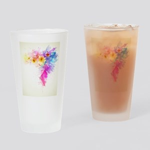 Colorful Tropical Plumeria Drinking Glass