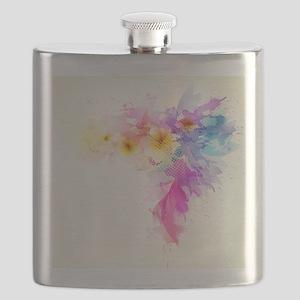 Colorful Tropical Plumeria Flask