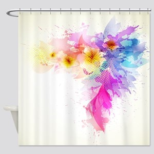 Colorful Tropical Plumeria Shower Curtain