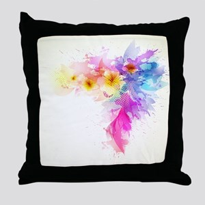 Colorful Tropical Plumeria Throw Pillow
