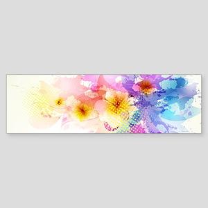 Colorful Tropical Plumeria Bumper Sticker