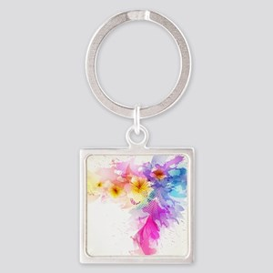 Colorful Tropical Plumeria Keychains