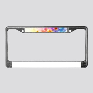 Colorful Tropical Plumeria License Plate Frame