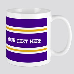 Purple and Gold Sports Stripes with Cus Mug