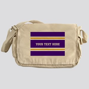 Purple and Gold Sports Stripes with Messenger Bag