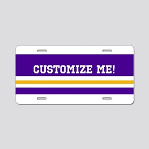 Gold and Purple Sports Stri Aluminum License Plate
