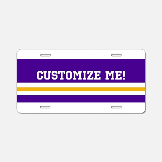 Gold and Purple Sports Stri Aluminum License Plate
