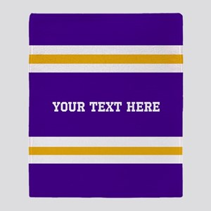 Purple and Gold Team Colors with You Throw Blanket