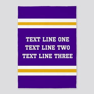 Purple and Gold Personalizable Team 5'x7'Area Rug