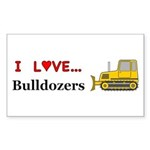 I Love Bulldozers Sticker (Rectangle 10 pk)