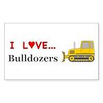 I Love Bulldozers Sticker (Rectangle 50 pk)