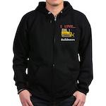 I Love Bulldozers Zip Hoodie (dark)