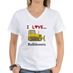 I Love Bulldozers Women's V-Neck T-Shirt