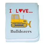 I Love Bulldozers baby blanket
