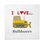 I Love Bulldozers Queen Duvet