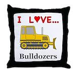 I Love Bulldozers Throw Pillow