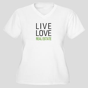 Live Love Real Estate Women's Plus Size V-Neck T-S