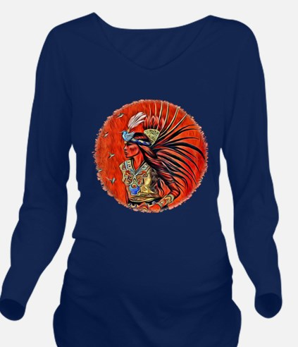 Aztec Bird Dancer Long Sleeve Maternity T-Shirt